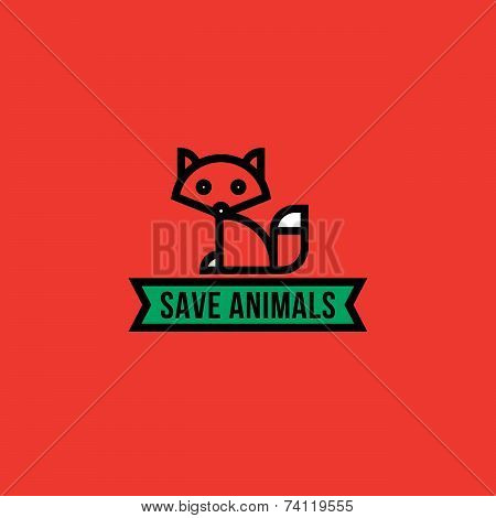 Save The Animals Concept With Red Fox