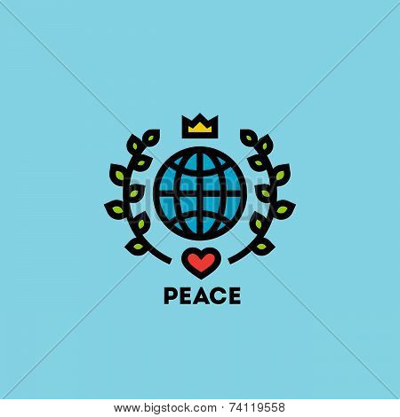 Peace Day Concept With Globe, Green Leaves, Crown And Heart