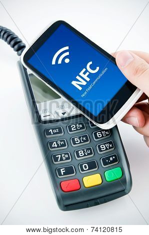 Contactless Payment Card With Nfc Chip In Smart Phone