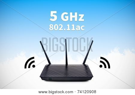 Modern Wireless Wi-fi Router With 5Ghz And 802.11Ac High Speed Standards