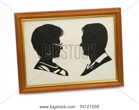 Silhouette of happy couple in frame, isolated on white