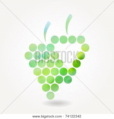 Stylized Silhouette Of Green Grape With Watercolor Texture