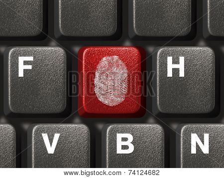 Computer keyboard with fingerprint, security concept