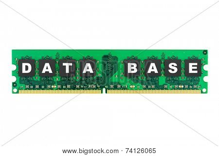 Word Database on computer memory isolated on white background