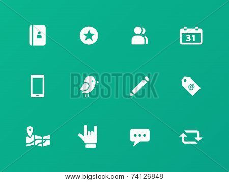 Social icons on green background.