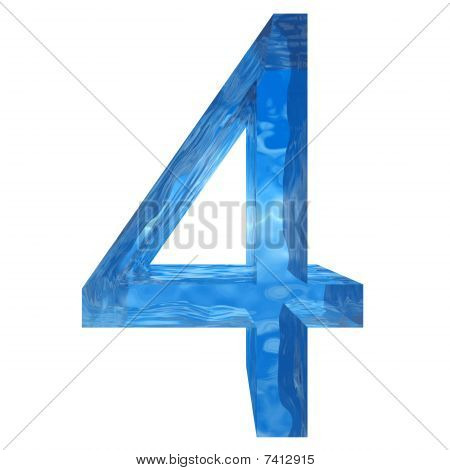Stock Photo: High resolution water number isolated on white for fresh or natural designs