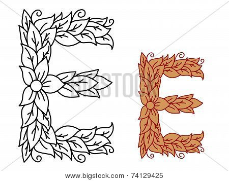 Uppercase letter E in a floral and foliate design