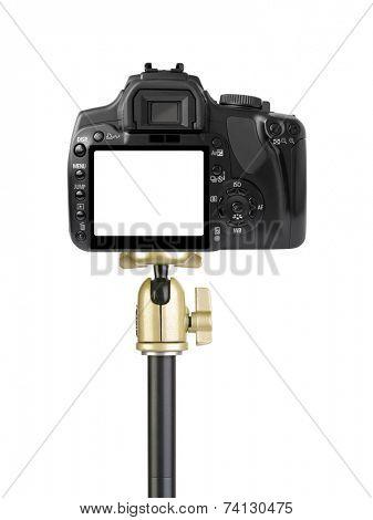 Camera on tripod isolated on white background