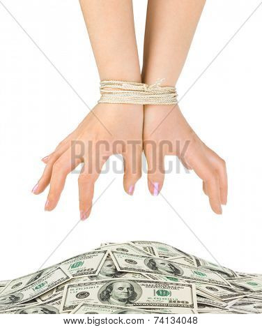 Money and bound hands isolated on white background