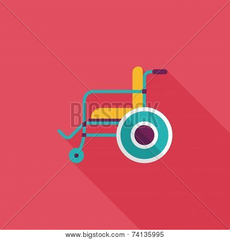 Wheelchair Flat Icon With Long Shadow