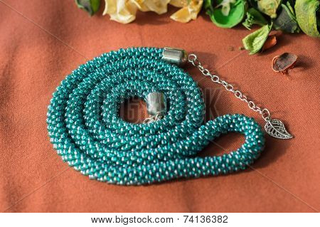 Green-blue Necklace From Beads With A Chain