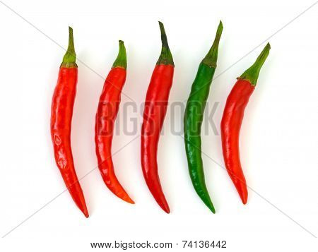 Green and red hot chili pepper isolated on white background