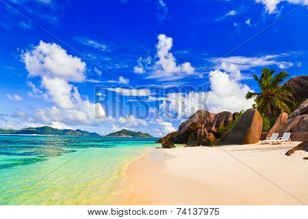 Beach Source d'Argent at Seychelles - vacation background