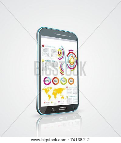 Infographics Desgin Template With High Tech Smartphone