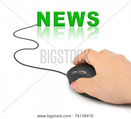 Hand with computer mouse and word News - internet concept