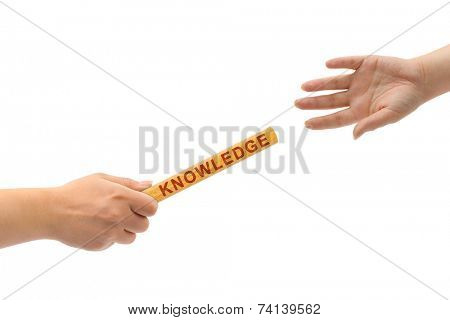 Hands and relay race Knowledge isolated on white background