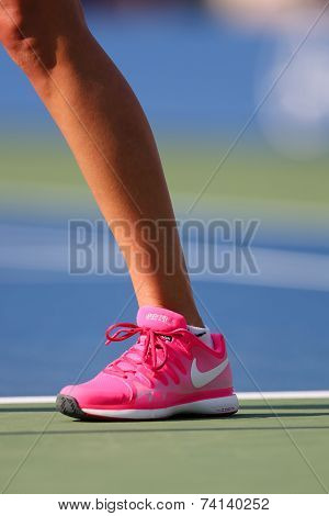 Two times Grand Slam champion Petra Kvitova wears custom Nike tennis shoes during match at US Open