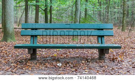 Wooden Park Bench In A Forrest