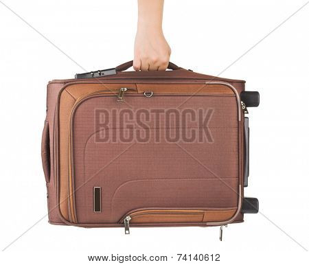 Travel case and hand isolated on white background