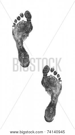 Footprints isolated on white background