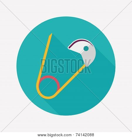 Safety Pin Flat Icon With Long Shadow,eps 10