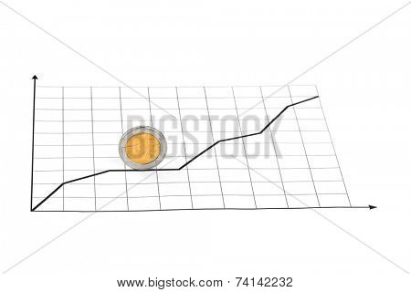 Rolling coin and diagram - abstract business background