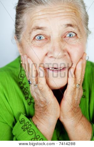 Excited Senior Woman With Surprise Expression