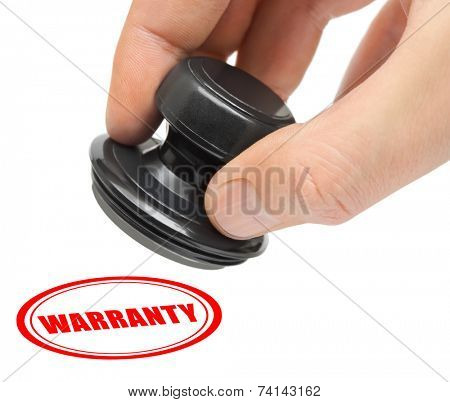 Hand and stamp Warranty isolated on white background