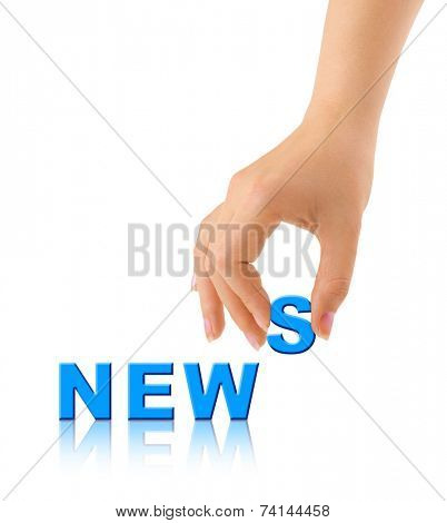 Hand and word News - communication concept, isolated on white background