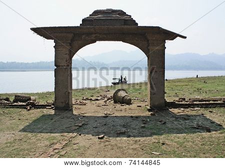 Entrance Door Is Made Of A Brick In Old Temple