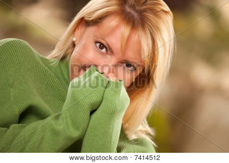 Attractive Brown Eyed Woman Portrait