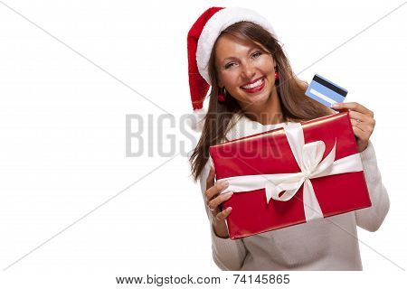 Woman Holding A Christmas Gift And Bank Card