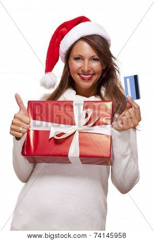 Smiling Woman Purchasing Christmas Gifts