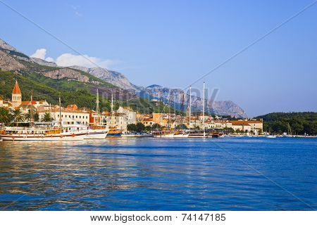 Sunset at Makarska, Croatia - travel background