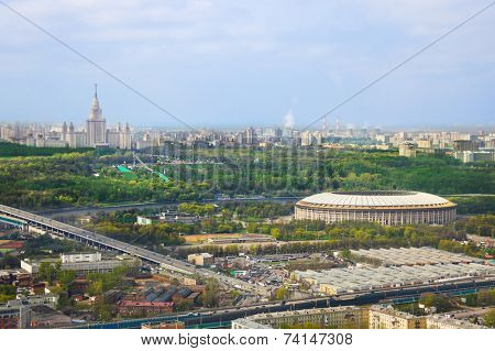 Stadium Luzniki and university at Moscow, Russia - aerial view