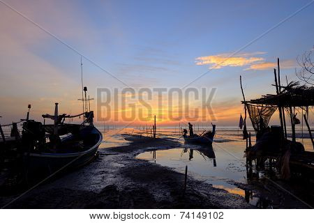 Fisherman Is Standing Fishing Boat To Back Home In The Morning