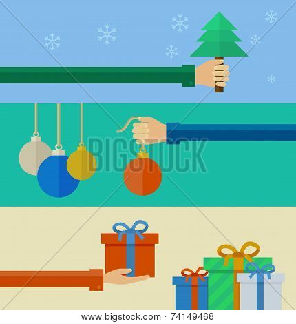 Set of christmas concepts in flat design