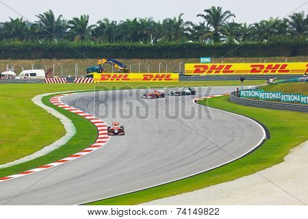 SEPANG, MALAYSIA - APRIL 9: Cars on track at qualification of Formula 1 GP, April 9 2011, Sepang, Malaysia