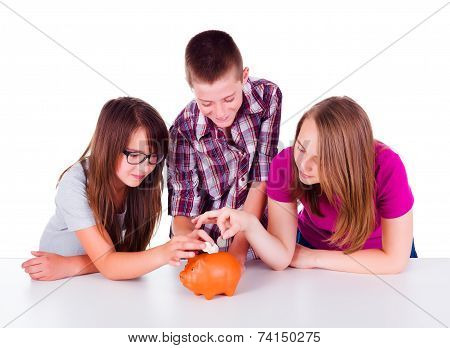 Three Teens Collecting Money Together
