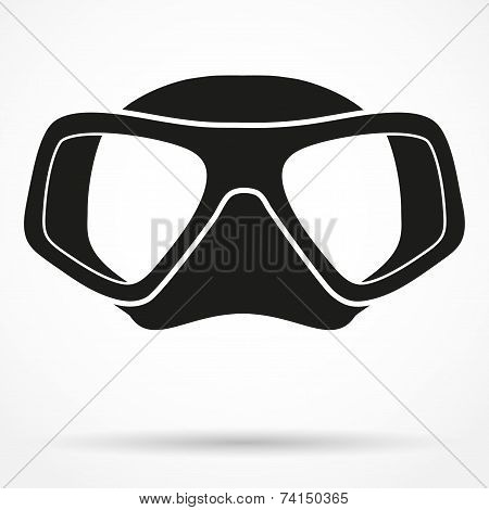 Silhouette symbol of Underwater diving scuba mask