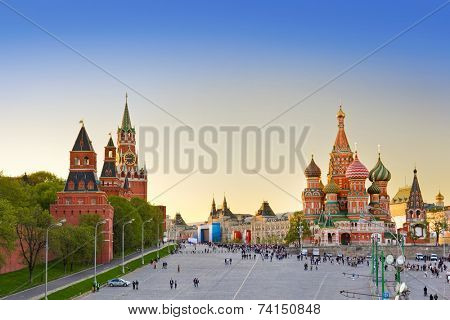 Red square, Moscow (Russia) at sunset