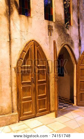 Entrance Door In The Old Church