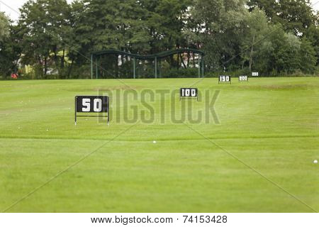 Empty Golf Ball Baskets At Driving Range