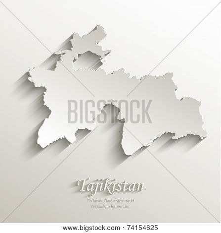 Tajikistan map card paper 3D natural vector