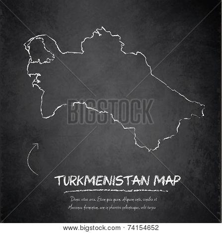 Turkmenistan map blackboard chalkboard vector