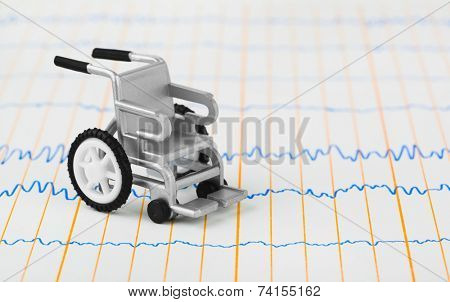 Toy wheelchair on ecg - medical background