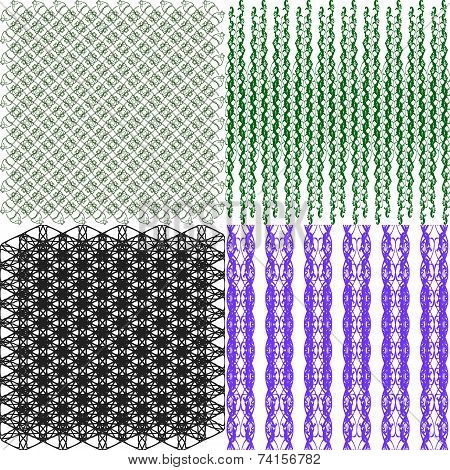 Set of  geometric pattern in op art design. Vector art.