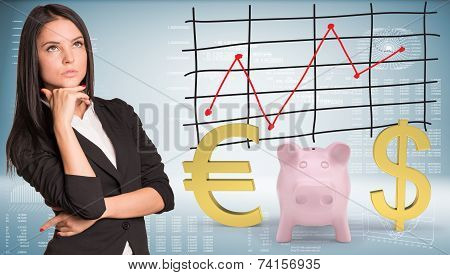 Lost in thought businesswoman looking up. Piggy bank with dollar and euro symbol