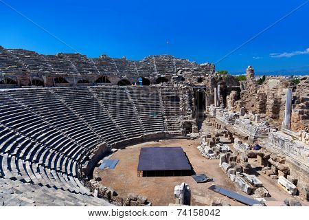 Old amphitheater in Side, Turkey - archaeology background