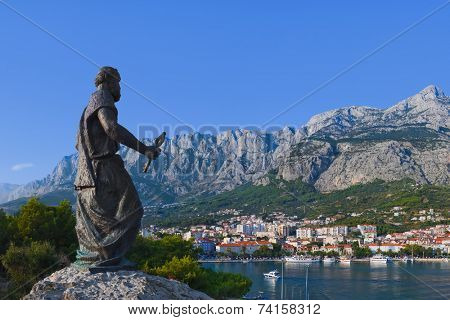 Statue of St. Peter at Makarska, Croatia - travel background